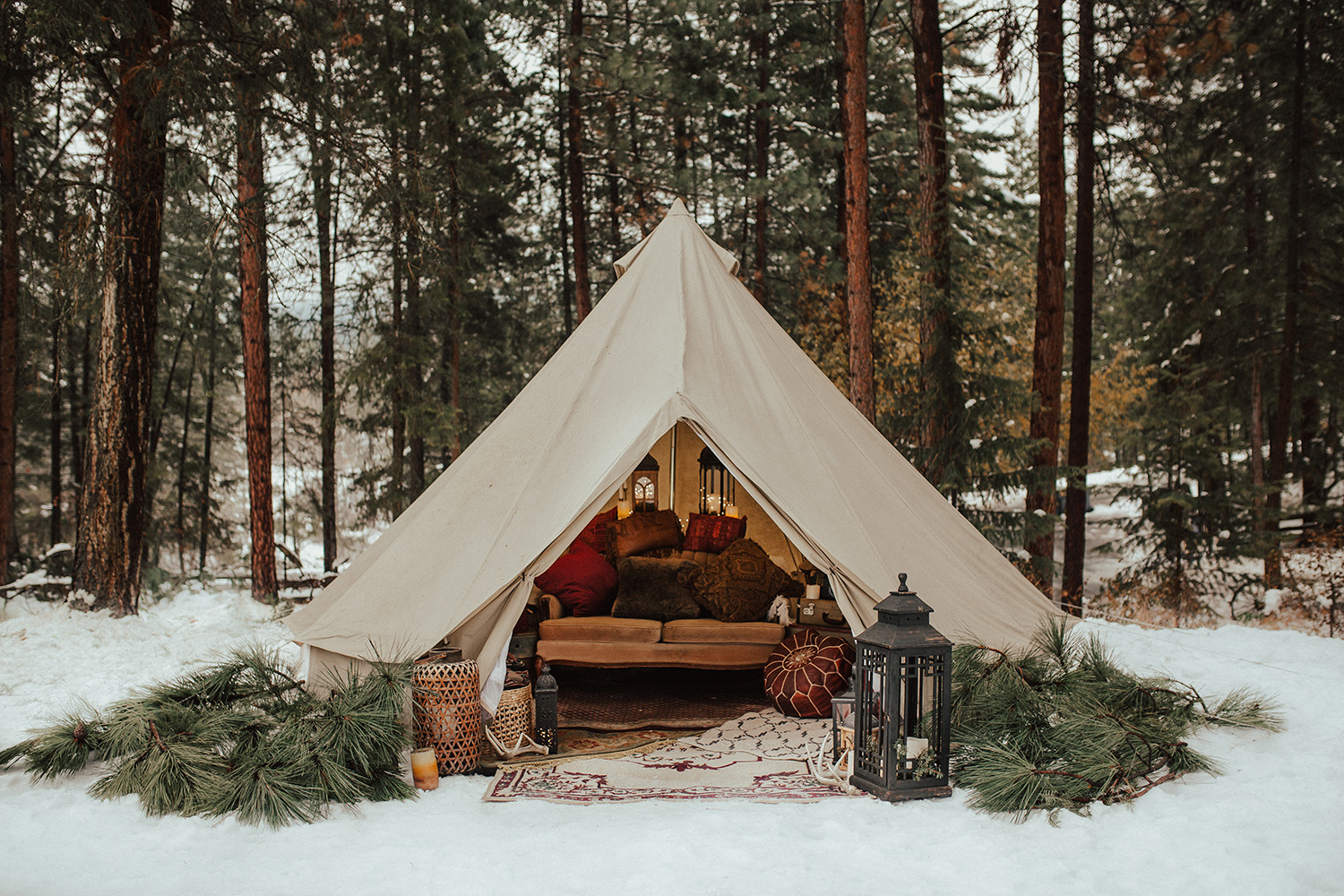 Luxe Camp Tent during a winter elopement in Kelowna BC