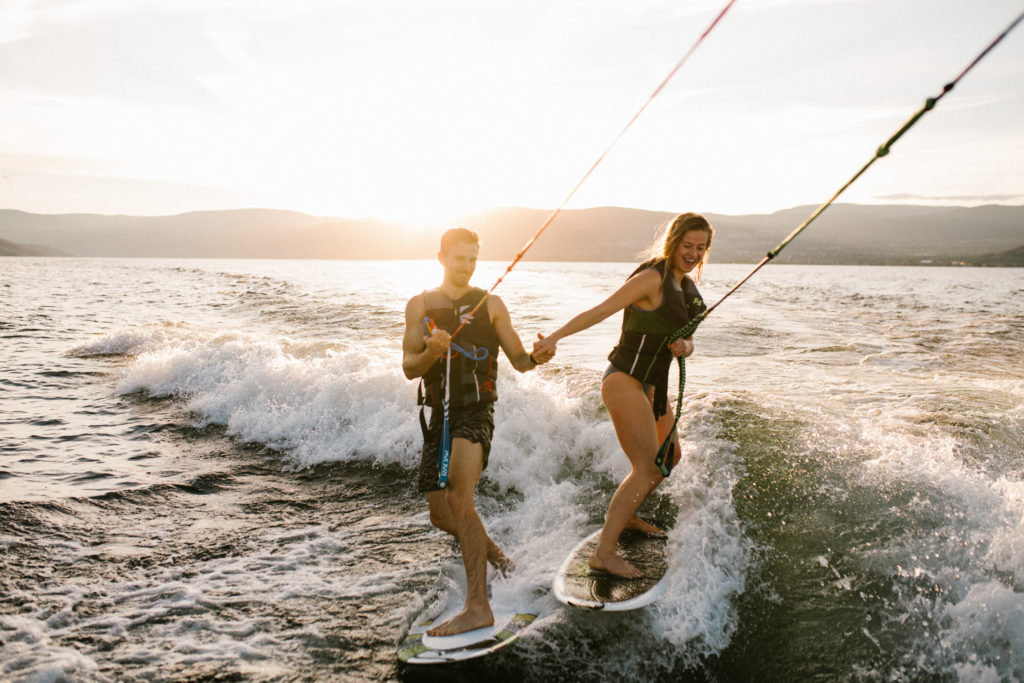 Kelowna Lake Okanagan Adventure Engagement Session by Abigail Eveline Photography