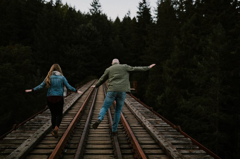 Vancouver Island fall engagement session at Goldstream Trestle
