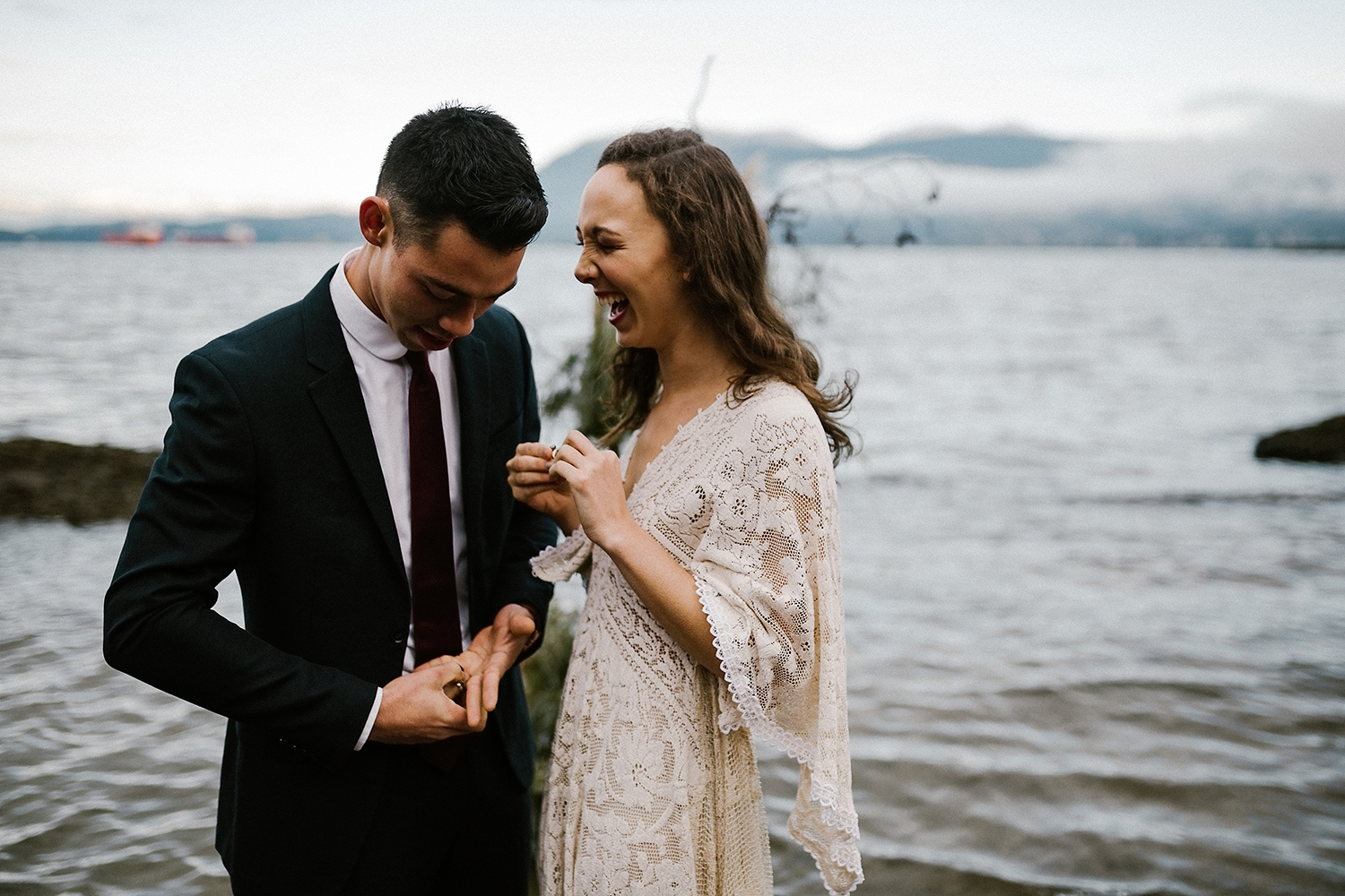 Morning Elopement on the Ocean in Vancouver