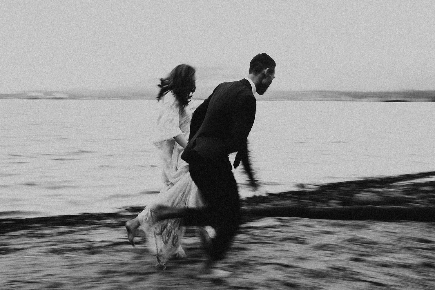 Running by the Ocean after Eloping in Vancouver