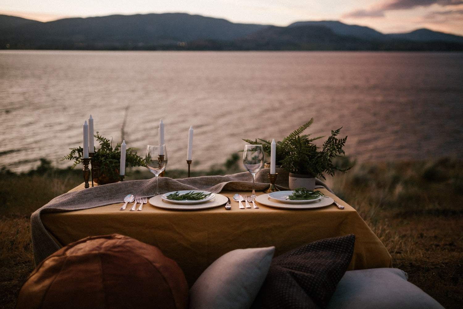 Intimate Elopement Dinner with the Sunset at Bertram Creek Park Kelowna