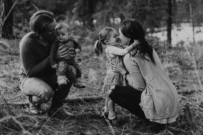 Candid moments during a family session at Kelowna's Mission Creek Park