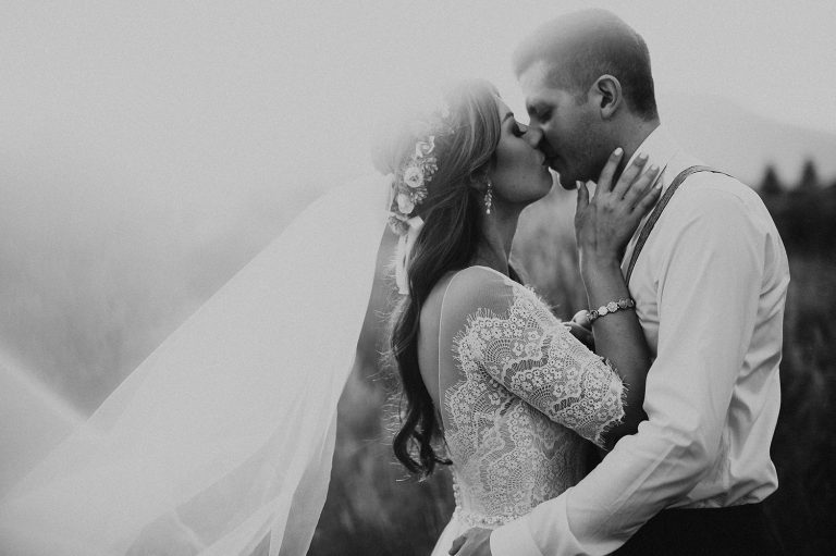 Boho Summer Elopement with Lace Dress and Long Veil in Kelowna