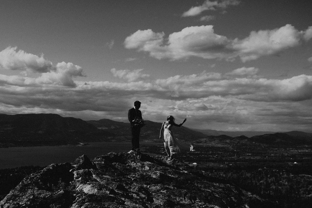 black and white bridal portrait in Kelowna BC
