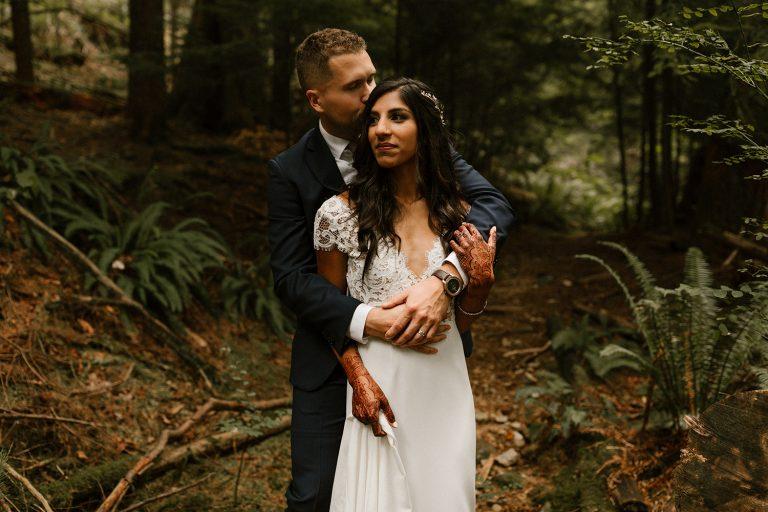 Bride and Groom Portrait in Belcarra Forest