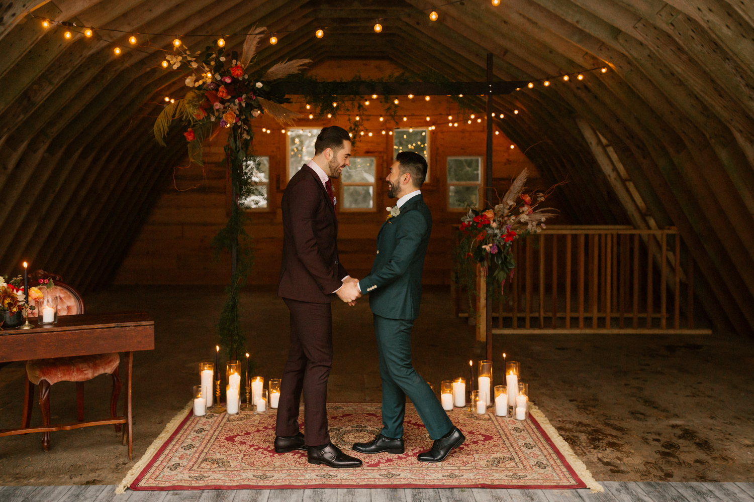 Boho elopement ceremony by Abigail Eveline photography and fernwood elopement collective